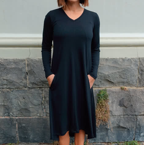 Eden Knit Dress Sewing Pattern By Style Arc - Swing dress for knit fabrics
