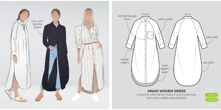 Graphic and line drawing of Anais woven dress