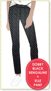 Elle Pant and Dobby Jacquard Black Bengaline Fabric Sewing Pattern Fabric Bundle By Style Arc