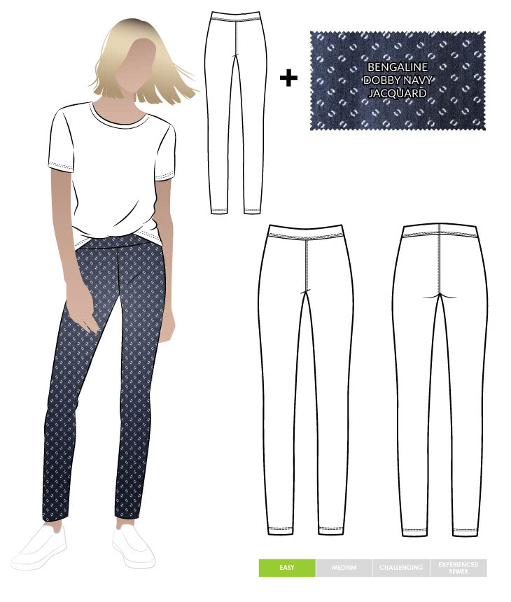Elle Pant and Dobby Jacquard Navy Bengaline Fabric Sewing Pattern Fabric Bundle By Style Arc