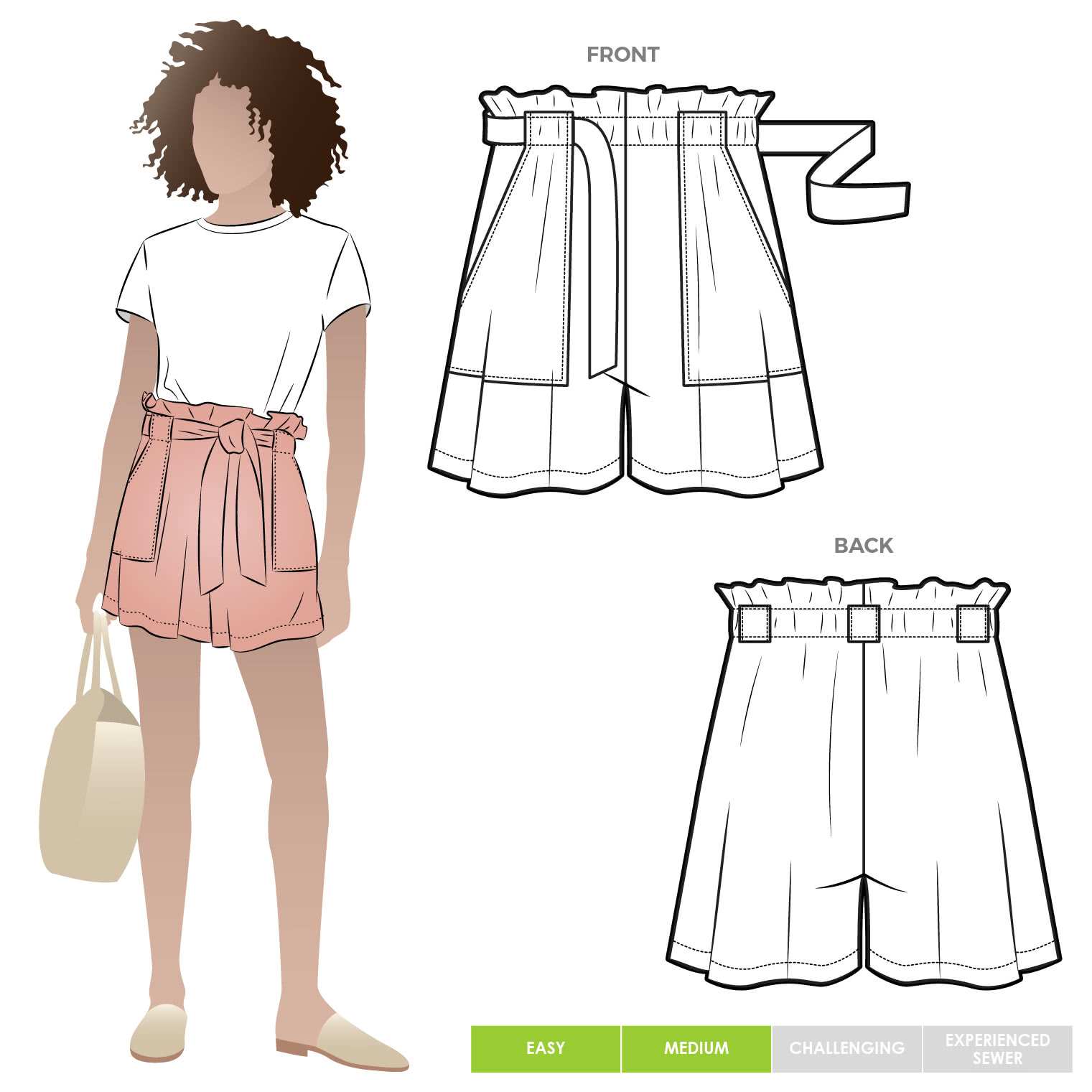 Ellen Woven Short By Style Arc - Woven short sewing pattern with an elastic, paper bag waist