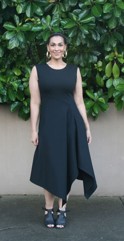 Elley Designer Knit Dress By Style Arc - Sleeveless slip on knit dress with an angled bodice and asymmetrical hem line.