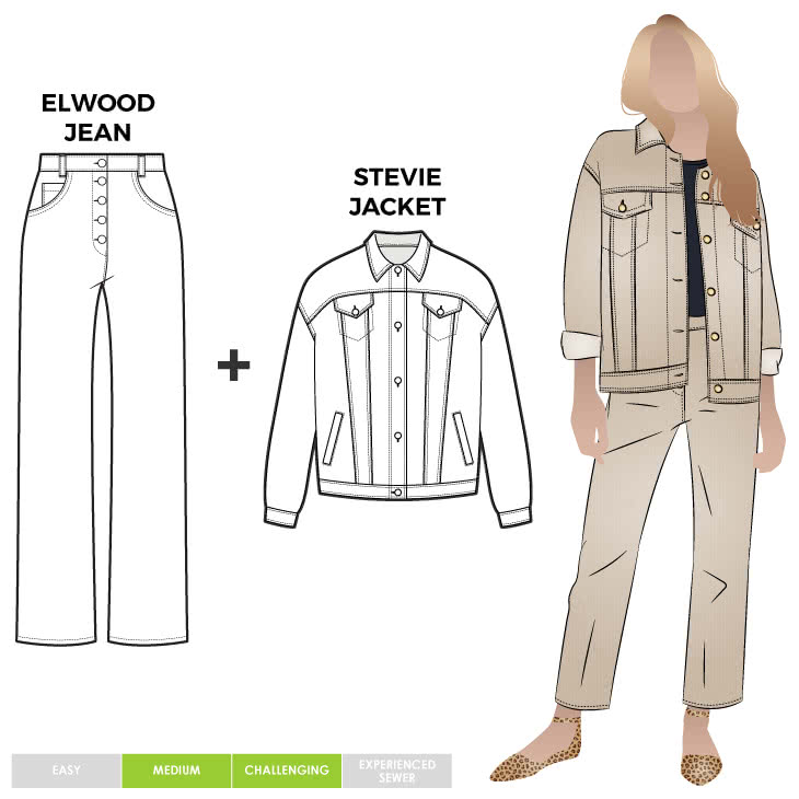 Elwood Jean + Stevie Jacket Sewing Pattern Bundle By Style Arc - Discounted sewing pattern bundle for a straight leg jean and boyfriend jacket. The jean features a shaped waist band and 7/8th length leg. The oversized Jean jacket has all the traditional jean features.