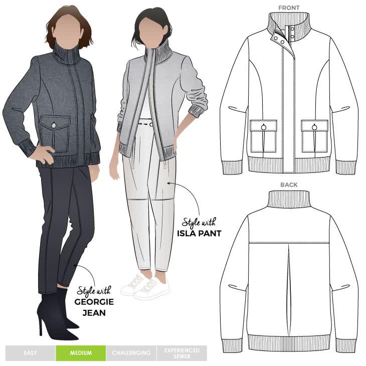 Emelia Jacket Sewing Pattern By Style Arc - Fabulous bomber jacket