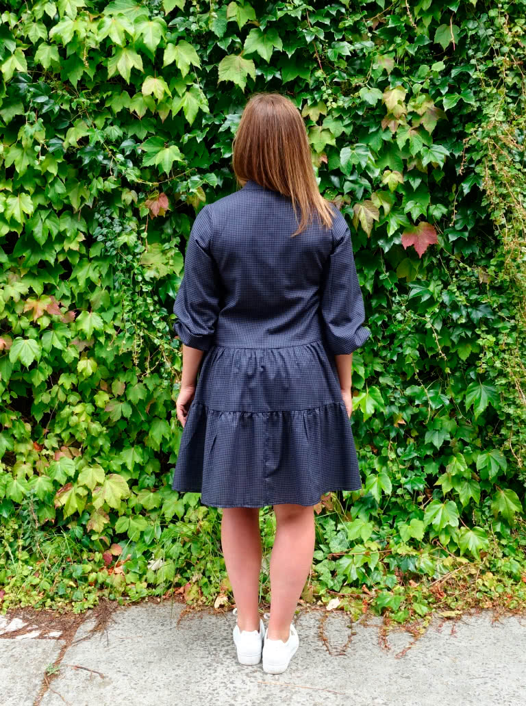 Emerson Woven Dress By Style Arc - Low waisted button through dress featuring a mandarin collar, sleeves & a gathered skirt