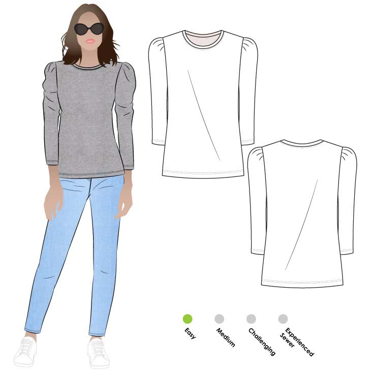 Emery Knit Top Sewing Pattern By Style Arc - Trans-seasonal knit top featuring a crew neck and a ¾ length tucked sleeve.