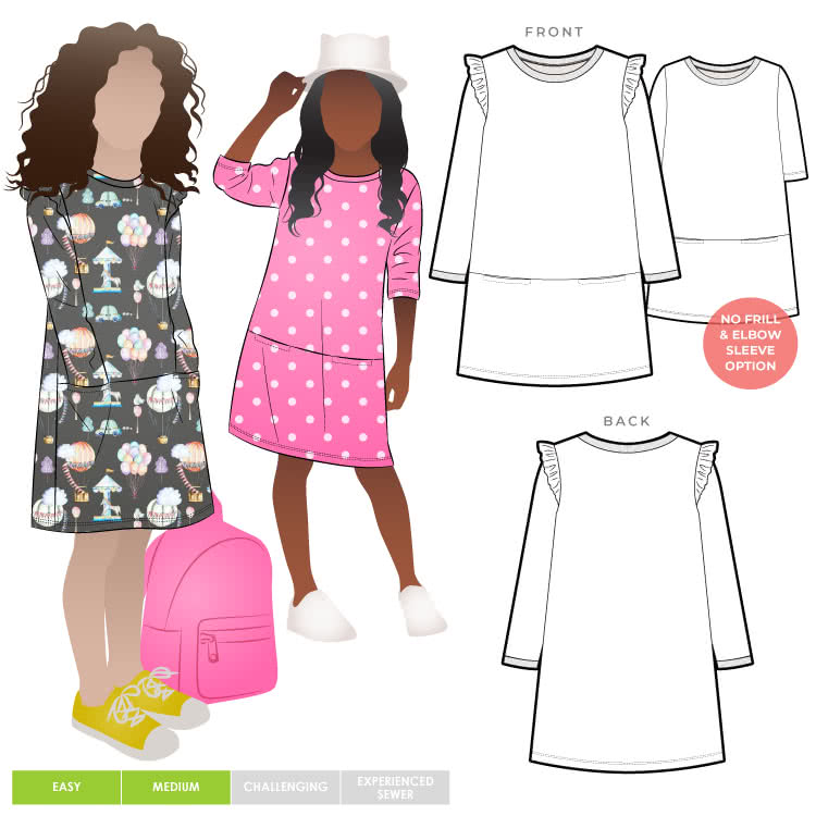 """Emma Kids Knit Dress By Style Arc - """"A"""" line shift dress with sleeves, crew neck and hip pockets, for kids 2-8"""