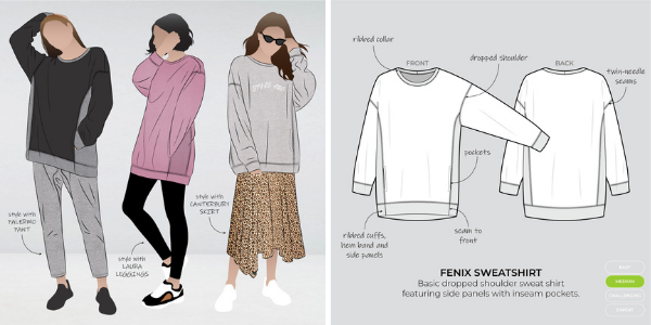 Graphic and line drawing of Fenix sweatshirt