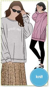 Fenix Sweatshirt By Style Arc - Basic dropped shoulder sweatshirt featuring side panels with inseam pockets.