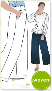 Fifi Woven Pant By Style Arc - Pull-on wide leg pant sewing pattern for woven fabrics