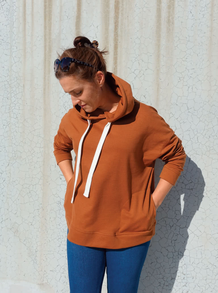 Fitzroy Hoodie By Style Arc - Square shaped windcheater with a hood and in seam pockets.