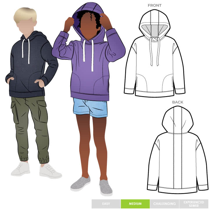 Fitzroy Kids Hoody By Style Arc - Square shaped windcheater with a hood and in seam pockets.
