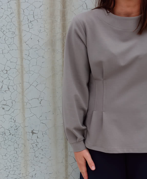Flick Knit Top Sewing Pattern By Style Arc - Long sleeve knit top sewing pattern with tuck details