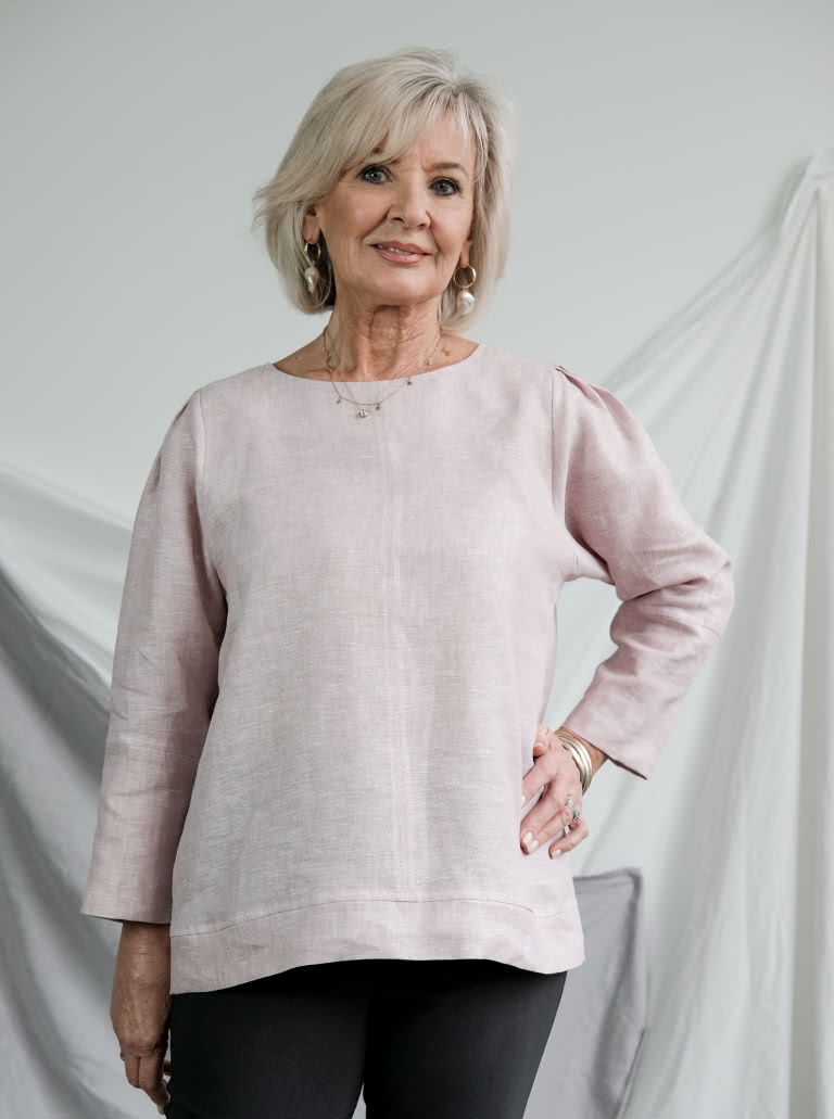 Florence Woven Top By Style Arc - Easy fit woven top with statement tuck shoulder detail. Use contrast stitch to highlight design details.