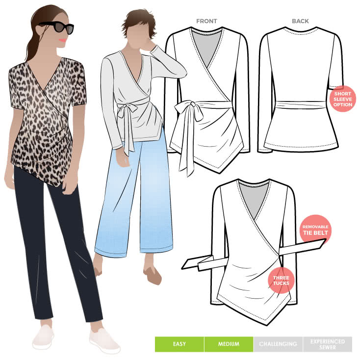 Glee Knit Top By Style Arc - Wrap top sewing pattern for women featuring an asymmetrical hem line and side tucks
