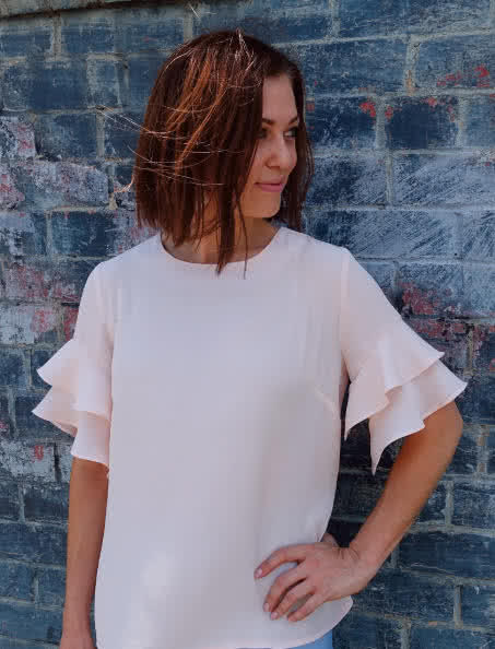 Harmony Woven Top Sewing Pattern By Style Arc - Flounce sleeve loose fitting top sewing pattern.