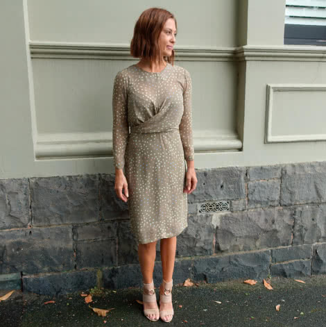 Hattie Woven Dress Sewing Pattern By Style Arc - Woven dress with a twist front and a 7/8 sleeve.