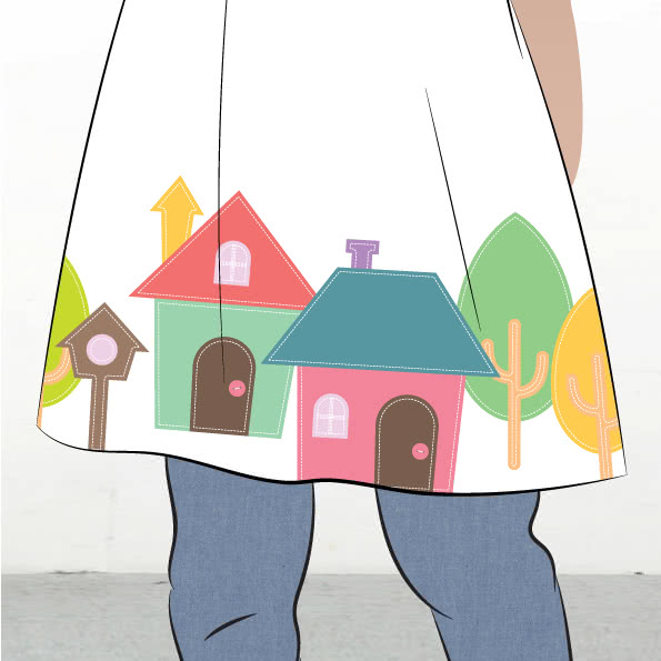Houses Applique Template By Style Arc - Houses applique template pattern
