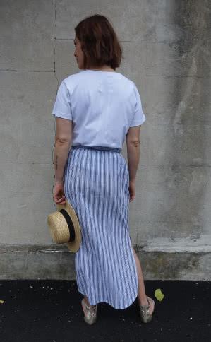 Indigo Maxi Skirt Sewing Pattern By Style Arc - Maxi skirt with elastic waist, faux button opening and patch pockets.