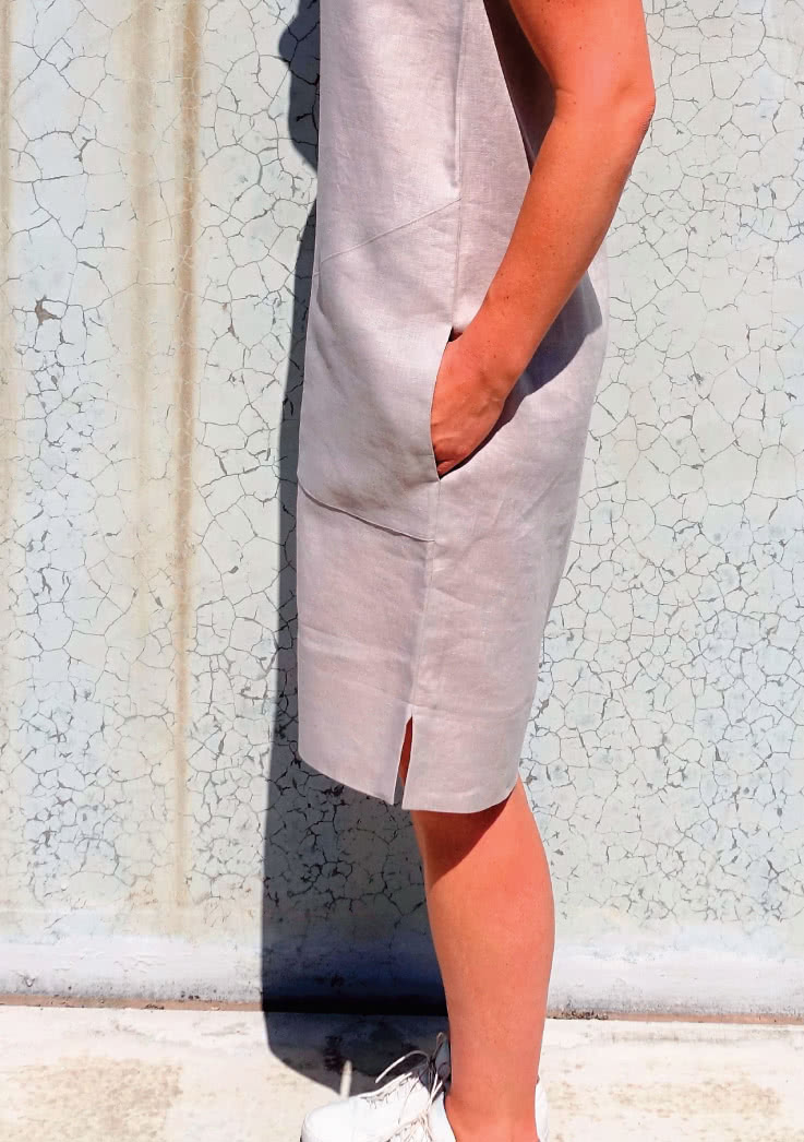 Iris Woven Dress Sewing Pattern By Style Arc - Shift dress with slight cocoon shape and large pockets.