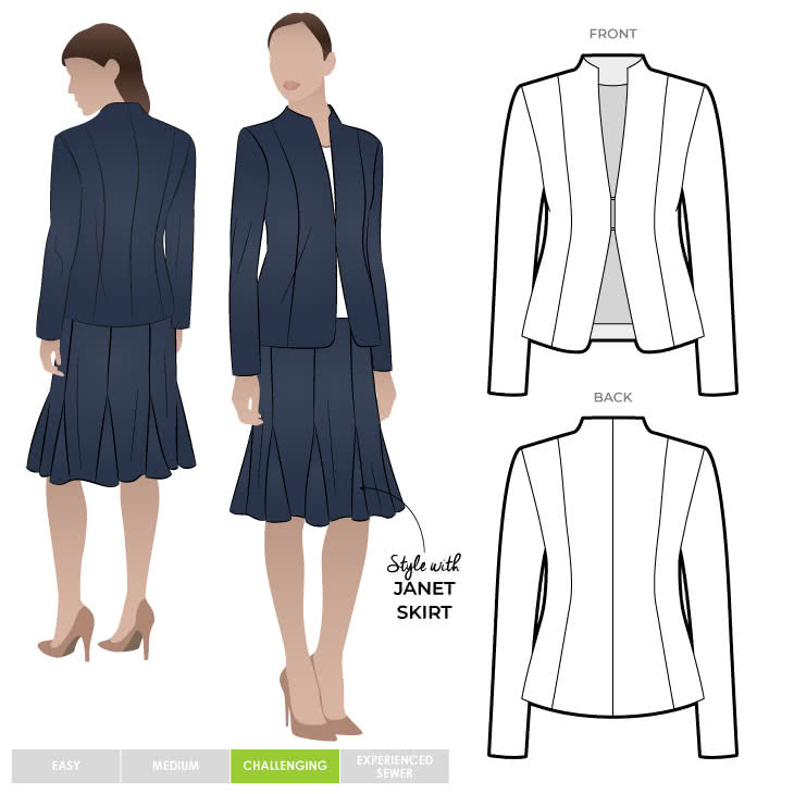 Janet Jacket Sewing Pattern By Style Arc - Great smooth shape lined jacket