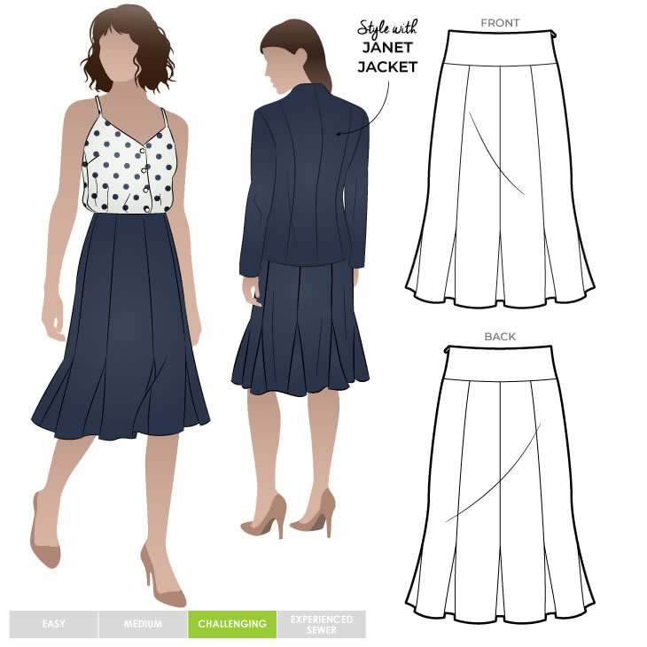 Janet Skirt Sewing Pattern By Style Arc - Flattering paneled skirt with inserts for flip hem