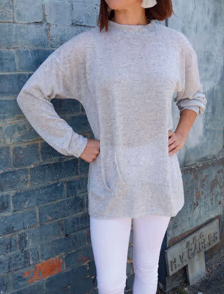 Jara Knit Tunic Sewing Pattern By Style Arc - Relaxed slouchy fitting tunic top sewing pattern.