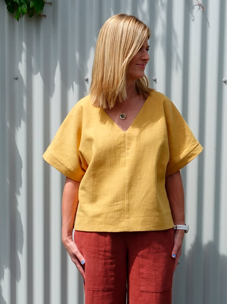 "Joan Woven Top By Style Arc - Square shaped top with extended shoulder line and ""V"" neck"