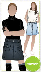 Kate Skirt Sewing Pattern By Style Arc - Mini hipster skirt with patch pockets