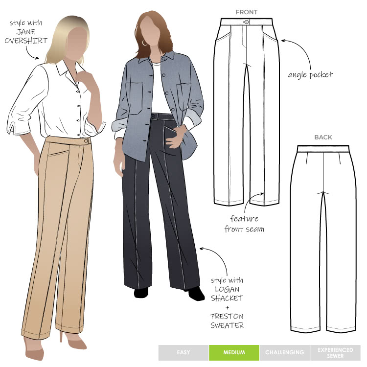 Katherine Pant Sewing Pattern By Style Arc - Straight leg tailored pant with seam detail