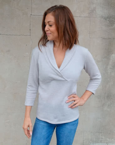 Kendall Knit Top Sewing Pattern By Donna And Style Arc - Cross-over shawl collar top with 7/8 length sleeves