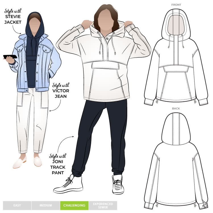 Kennedy Hooded Top By Style Arc - Square shaped hooded pull over top.