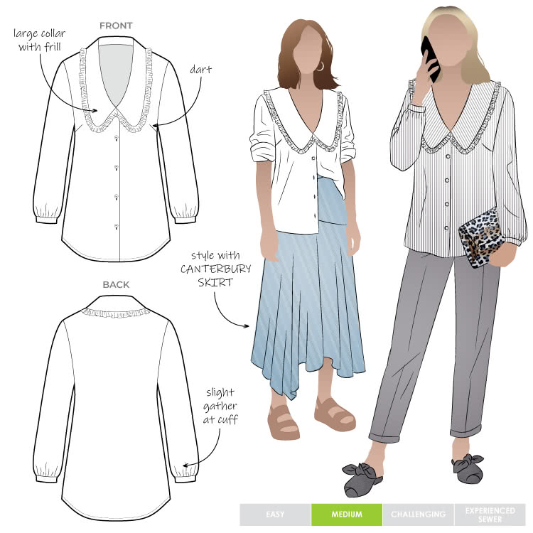 Kennie Woven Shirt By Style Arc - Button through shirt with feature collar and long sleeves.