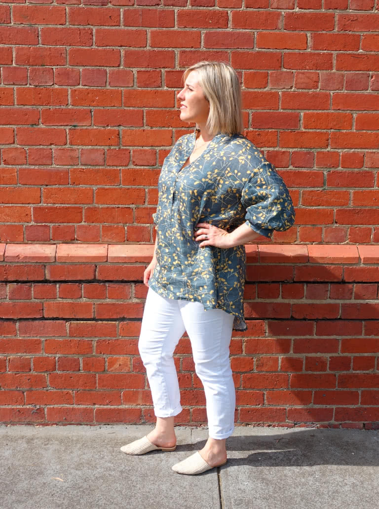 Kent Woven Tunic By Style Arc - Tunic featuring a tab front, shaped stand collar and a fashionable elbow length sleeve.