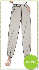 Kew Woven Pant By Style Arc - Waisted, fly front pant with a shaped leg, interesting hem and angled pockets.