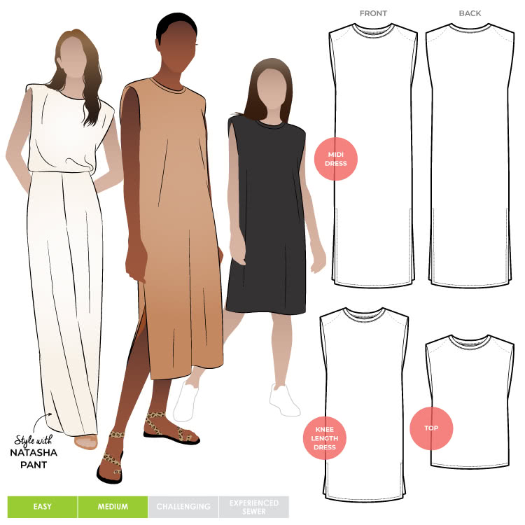 Kirby Dress and Top By Style Arc - Square shouldered tank dress or top with shoulder pads and a crew neck.