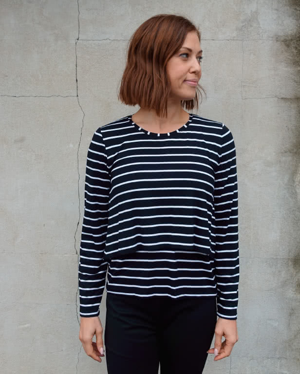 Kylie Knit Top Sewing Pattern By Style Arc - Knit top with an open back overlay
