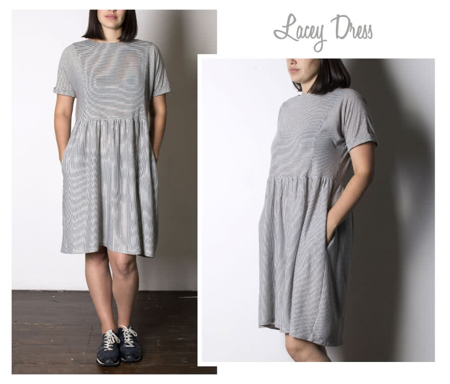 Lacey Dress Sewing Pattern By Style Arc - Easy slip-on dress with an extended shoulder, square line bodice and slightly gathered skirt.