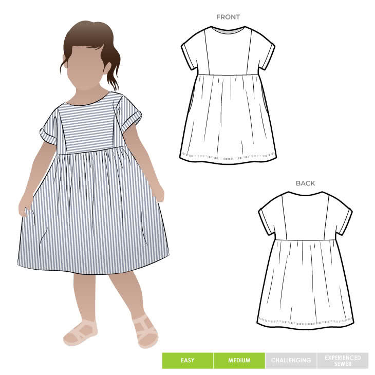 Lacey Kids Dress By Style Arc - Easy slip on dress with an extended shoulder, square line bodice and slightly gathered skirt.