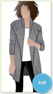 Laura Knit Cardi Sewing Pattern By Style Arc - Simple shawl collar cardi