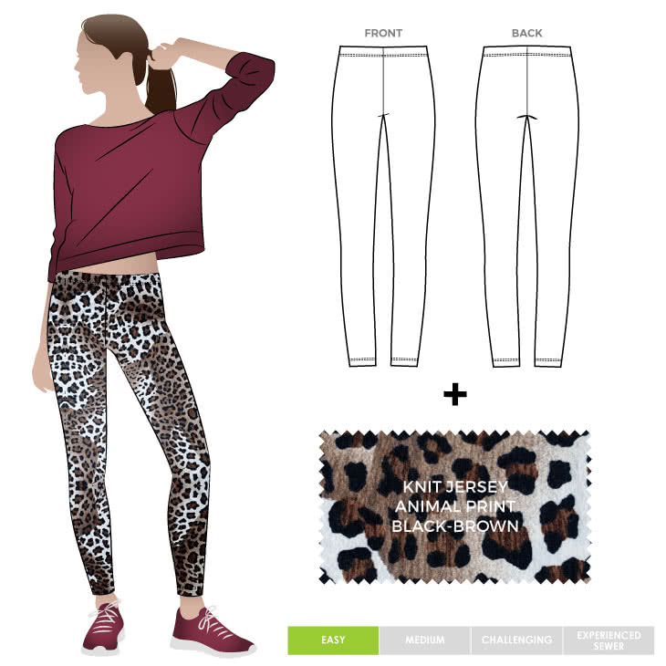 Laura Legging + Animal Black Brown Jersey Knit Fabric Sewing Pattern Fabric Bundle By Style Arc