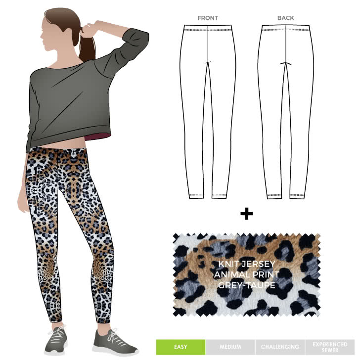 Laura Legging + Animal Grey Taupe Jersey Knit Fabric Sewing Pattern Fabric Bundle By Style Arc