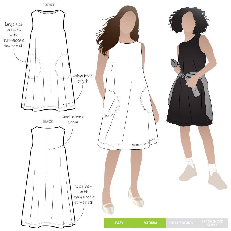 "Lena Shift Dress By Style Arc - Sleeveless ""A"" line boat neck dress"