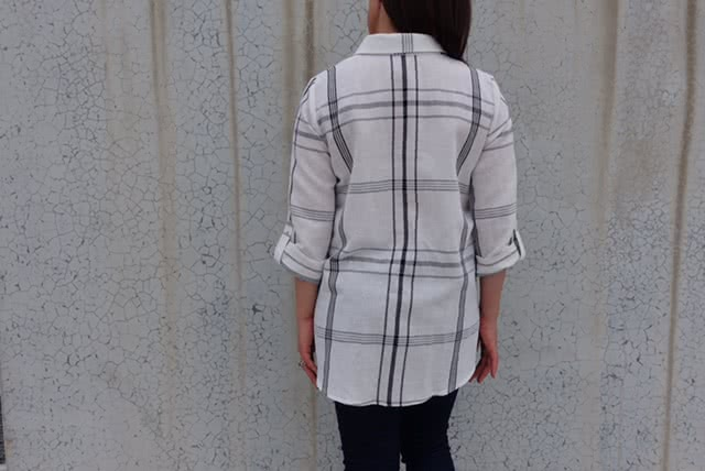 Lennie Over-Shirt + White Check Print Linen Sewing Pattern Fabric Bundle By Style Arc