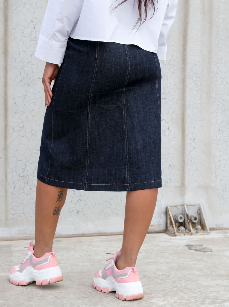 """Lennox Woven Skirt By Style Arc - """"A"""" line panelled, button though skirt with patch pockets, this skirt comes in two lengths."""
