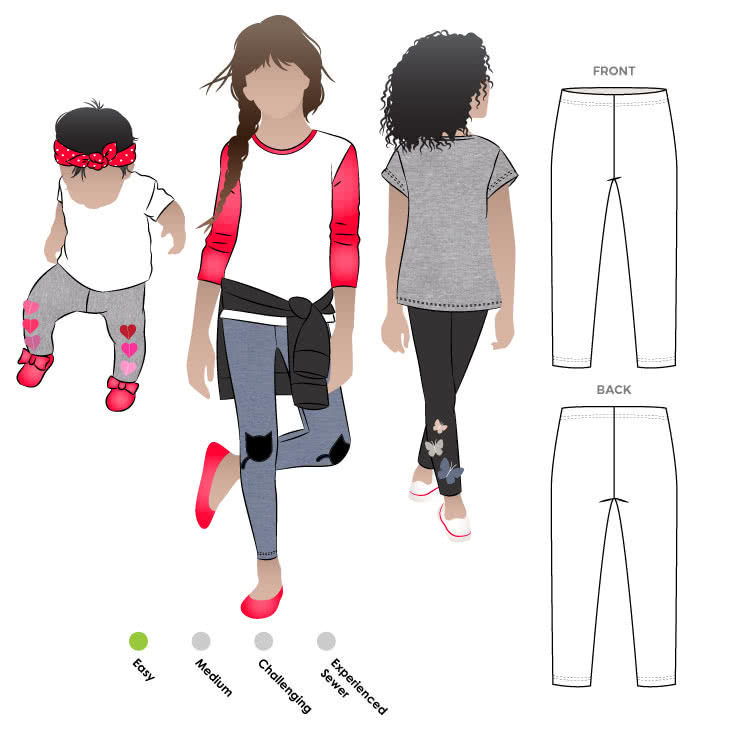 Lily Knit Leggings By Style Arc - Basic kid's legging pattern