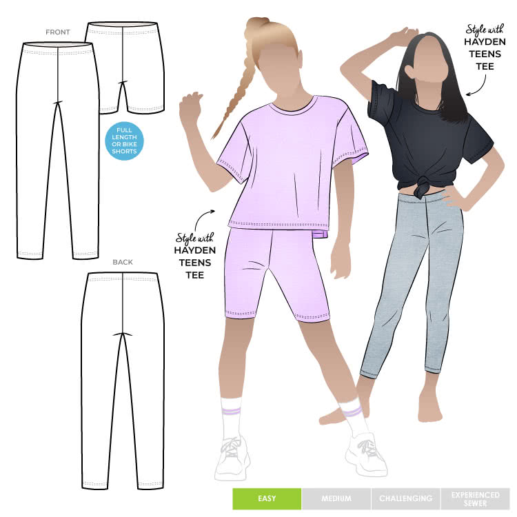 Lily Teens Knit Legging By Style Arc - A legging is a teens wardrobe staple, with no side seams and elastic waist this makes it an easy make, for teens 8-16.