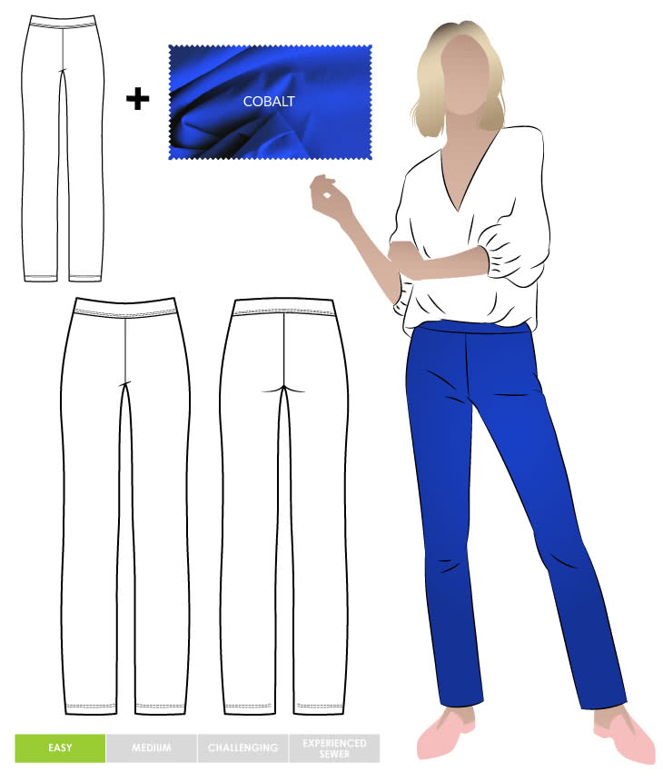Linda Stretch Pant and Cobalt Bengaline Fabric Sewing Pattern Fabric Bundle By Style Arc