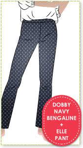 Linda Stretch Pant and Dobby Jacquard Navy Bengaline Fabric Sewing Pattern Fabric Bundle By Style Arc