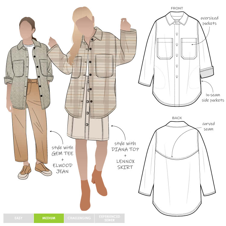 Logan Shacket By Style Arc - On trend over-sized shirt style jacket